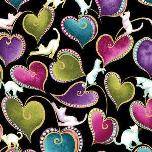 """""""Hearts & Cats"""" (in black)"""